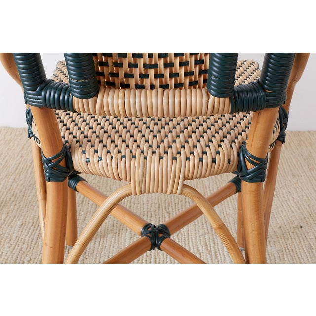Pair of Palecek Bamboo Rattan Bistro Cafe Chairs For Sale - Image 10 of 13