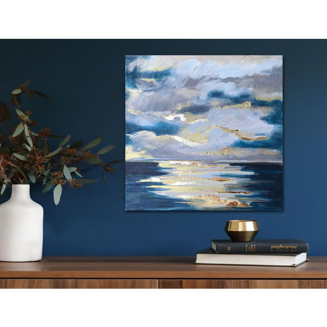 """An ethereal, impressionist seascape with gold leaf accents that capture and play with the light. Positively dreamy. 12"""" x..."""