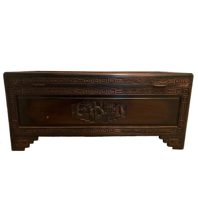 Brown Antique Chinese Carved Camphor Wood Trunk and Dresser Set With Inlaid Stone For Sale - Image 8 of 12