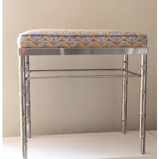 Vintage Petite Raoul Textile Fabric Upholstered Chrome Bench Preview
