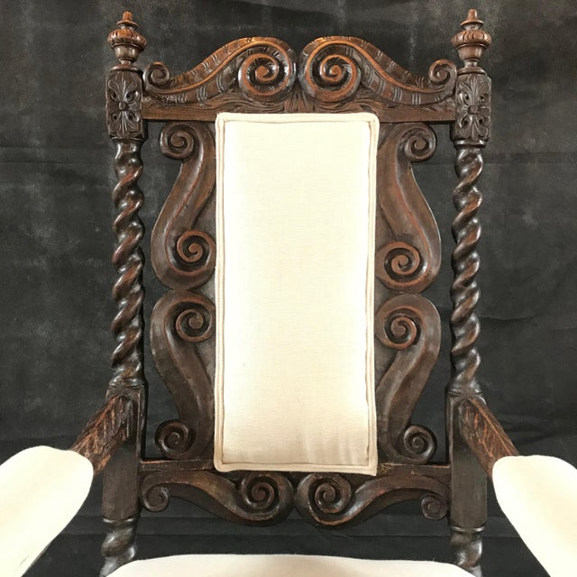 Mid 18th Century 18th Century Vintage Carved Oak Jacobean Arm Chair For Sale - Image 5 of 10