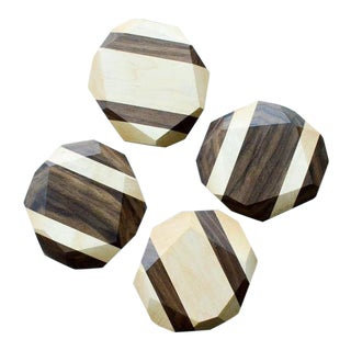 Hardwood Geometric Coasters - Set of 4 For Sale