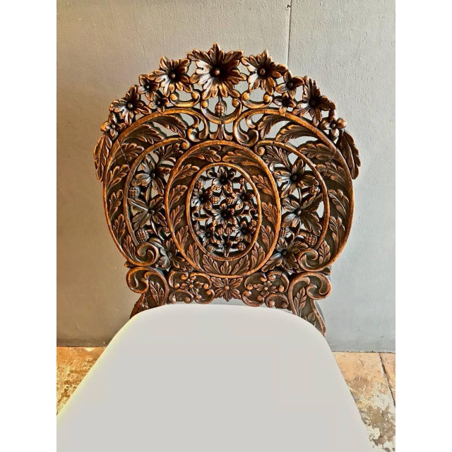 Mid 19th Century Anglo-Indian Carved Rosewood Side Chair Raj Period For Sale - Image 5 of 7
