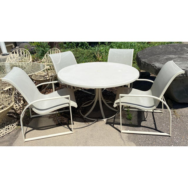 Mid Century Modern Woodard Margarita Patio Dining Set Table 4 Curved Chairs - Set of 5 For Sale - Image 12 of 12