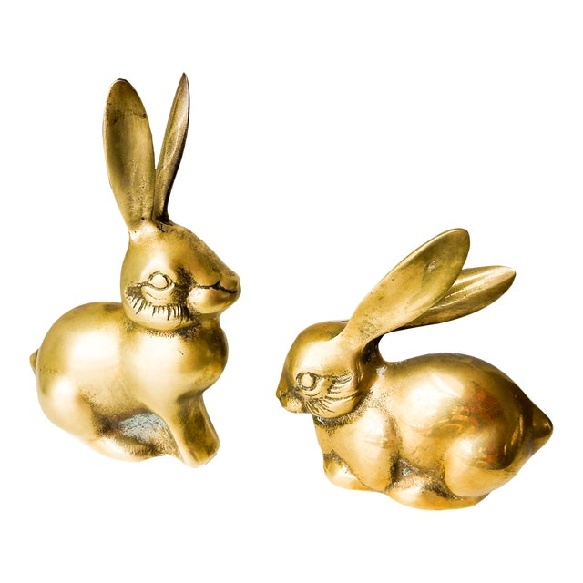 Brass Rabbit Figurines - A Pair - Image 1 of 6