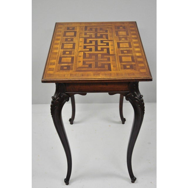 Antique Dutch Marquetry Inlaid French Louis XV Style Carved Walnut Side Table For Sale - Image 12 of 13