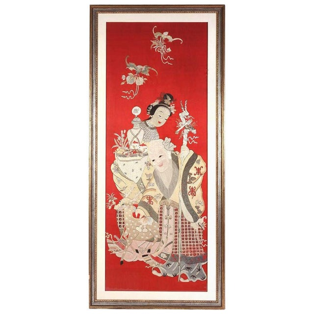 Framed Chinese Embroidery Panel of Longevity Deities For Sale - Image 13 of 13