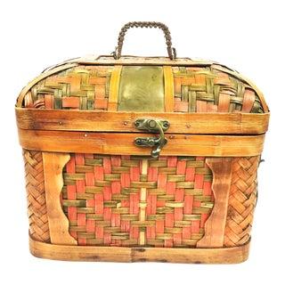 Vintage Handmade Woven Bamboo & Copper Basket