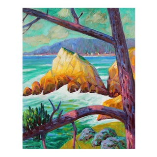 Frederick Pomeroy Carmel Rocks and Trees in Oil, 20th Century For Sale
