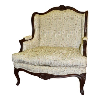 Vintage Carved Walnut Oversized French Style Chair W/Patterned Fabic For Sale