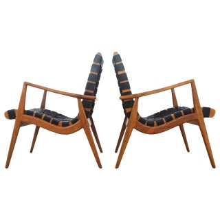 1950s Mel Smilow Walnut and Leather Lounge Chairs - a Pair For Sale