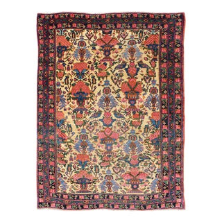 Floral Design Antique Afshar Rug in Multicolored Tone For Sale