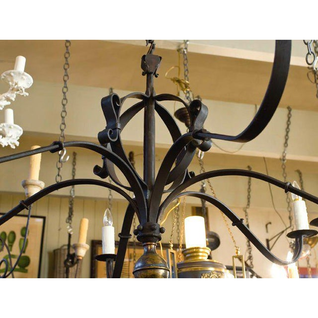 """Monumental Custom Forged-Iron """"Defiance"""" Chandelier with Large Brass Ball Finial For Sale - Image 4 of 7"""
