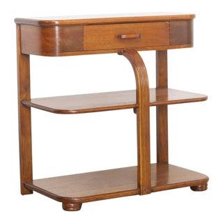 Art Deco Walnut Waterfall Side Table