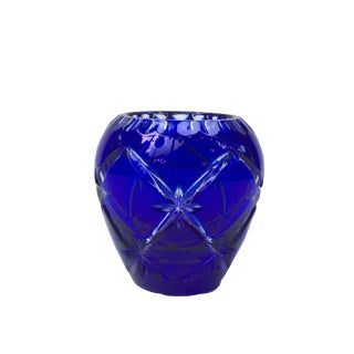 Bohemia Cut Glass Vase With Star Pattern For Sale