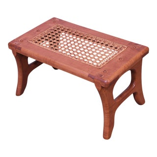 Tiger Maple Custom Crafted Small Cane Seat Footstool For Sale