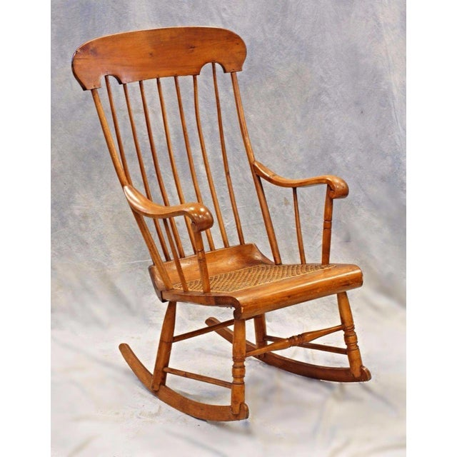 Spindle Back Caned Seat Rocking Chair For Sale - Image 5 of 11