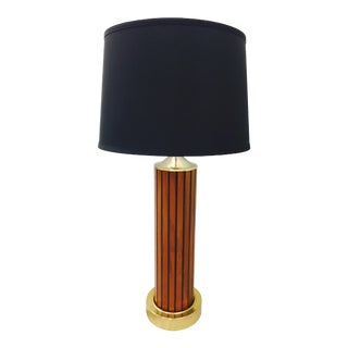 Vintage Modern Wood Panel & Brass Table Lamp