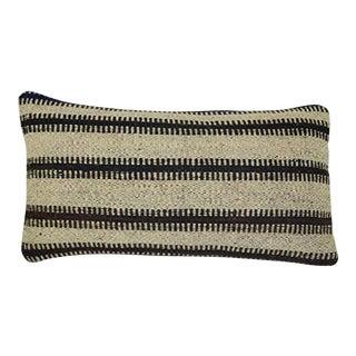 Vintage Turkish Handwoven Unique Pattern Kilim Lumbar Pillow Cover, Handmade Oblong Chair Decor 12'' X 20'' (30 X 50 Cm) For Sale