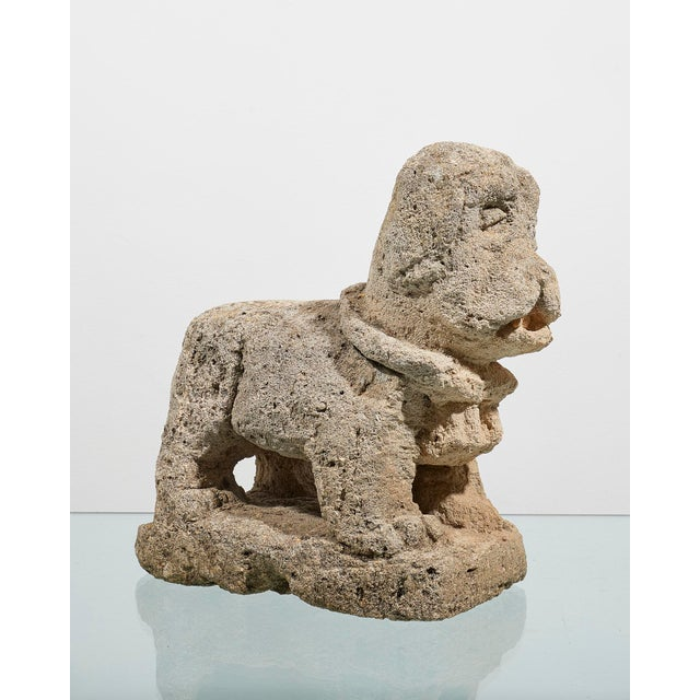 """Charming Italian 17th century carved stone dog. Measurements Height 11"""" 28cms Depth 6"""" 15cms"""