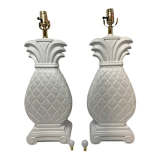 1990s Custom Painted Ceramic Pineapple Table Lamps - a Pair For Sale