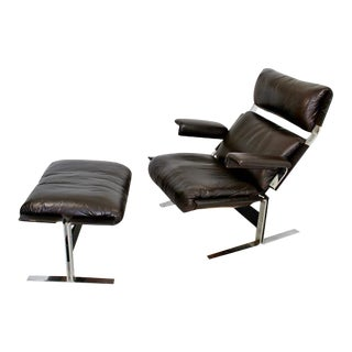 1960s Richard Hersberger Leather Lounge Chair & Ottoman For Sale