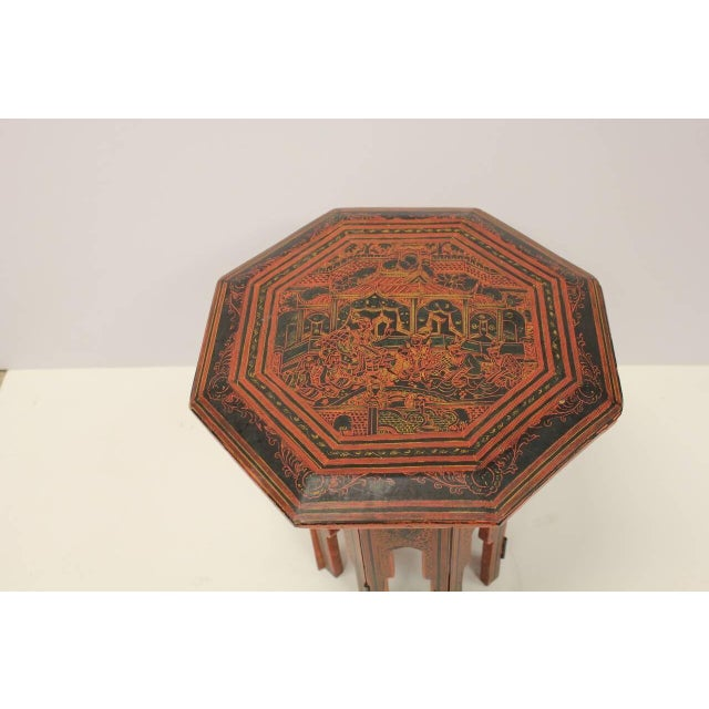 1900's Burmese Red & Black Lacquered Octagonal Table