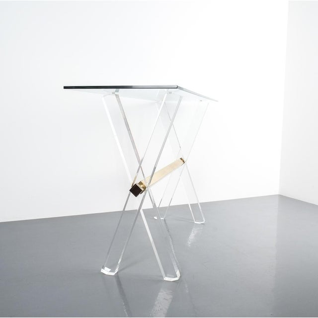 Lucite and Brass X Frame Console Table, Circa 1970 For Sale - Image 6 of 13