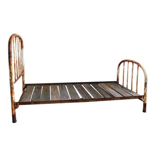 1930s Vintage Rustic Metal Twin Bed For Sale