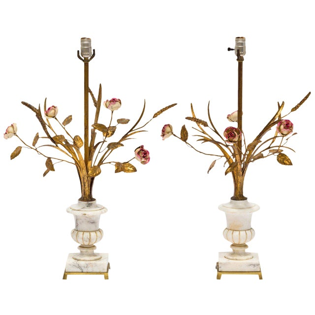 Pair of Italian Marble Urn and Gilded Metal Floral Lamps For Sale