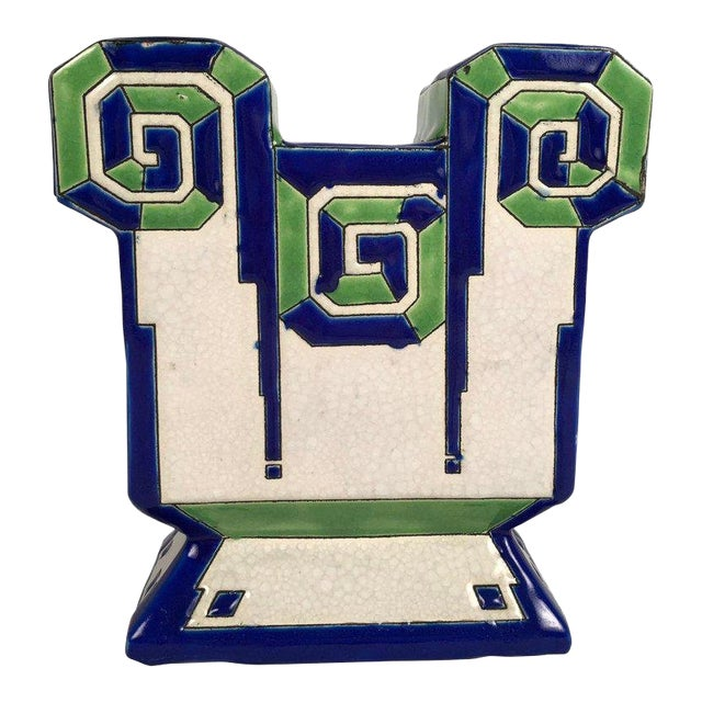 Art Deco Geometric Ceramic Vase by Boch Freres For Sale