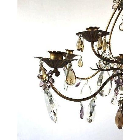 French Candle Chandelier With Crystal Drops For Sale In San Francisco - Image 6 of 8