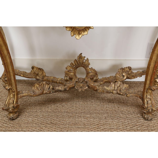 Gold Gold Gilt Console With Custom Cut Marble Top For Sale - Image 8 of 12
