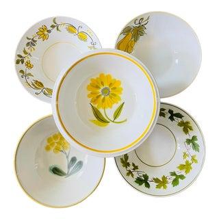 Vintage Mismatched Floral Cereal Bowls- Set of 5 For Sale