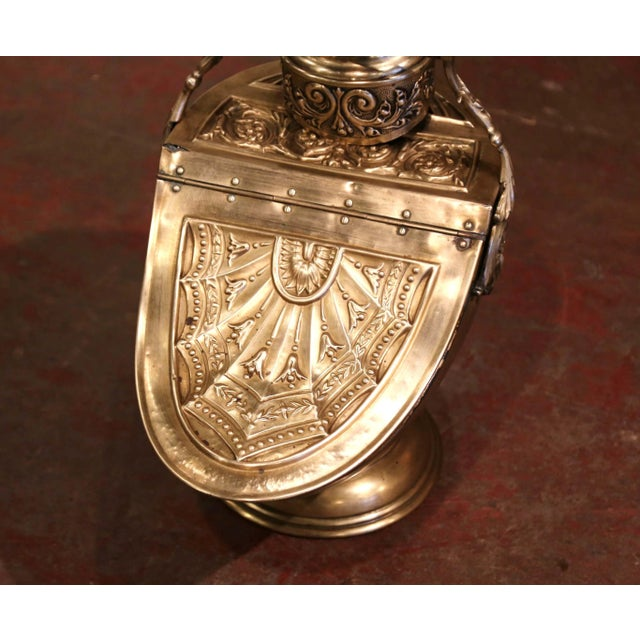 Victorian 19th Century English Victorian Repousse Brass Coal Bucket With Original Scoop For Sale - Image 3 of 13