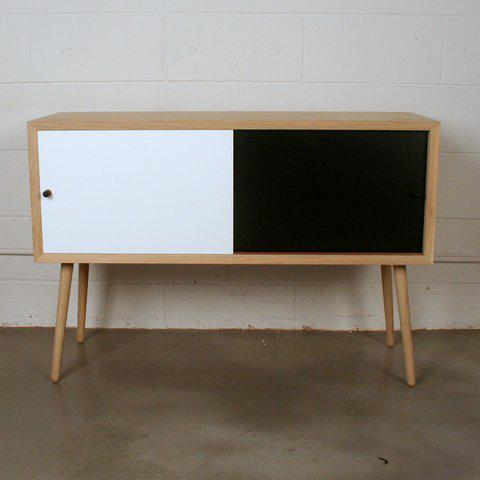 Genial Sleek Contemporary Small Sideboard Cabinet With Two Black And White Sliding  Doors. Resting On Solid