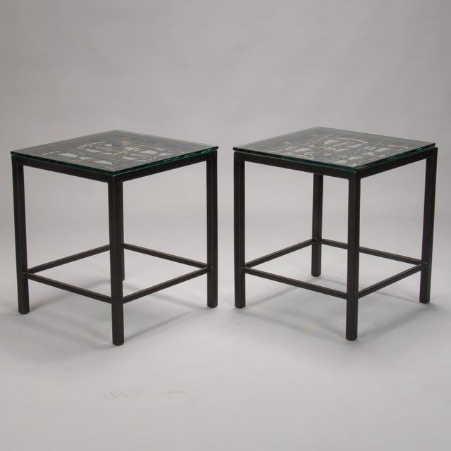 Pair Custom End Tables Made with French Metal Grill For Sale - Image 4 of 7