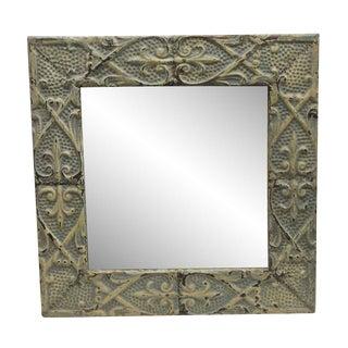 Modern Heart Flower Pattern Antique Tin Panel Mirror For Sale