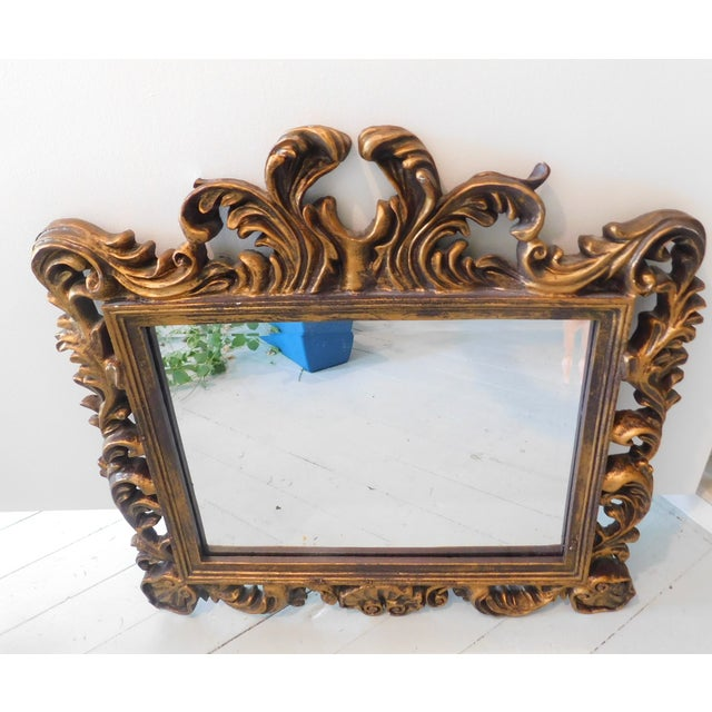 Vintage Baroque Style Gold Leaf Beveled Wall Mirror For Sale - Image 11 of 11