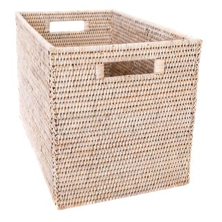 Artifacts Rattan Storage Box With Cutout Handles For Sale