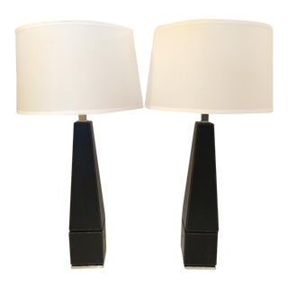 Stitched Leather & Chrome Obelisk Style Table Lamps - A Pair