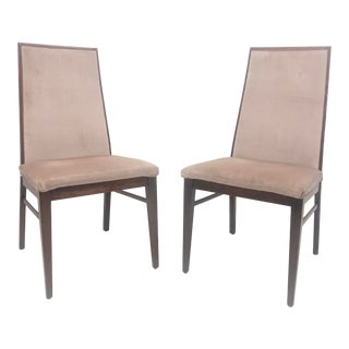 Mid-Century Dillingham High Back Wood Framed Dining Chairs- a Pair For Sale