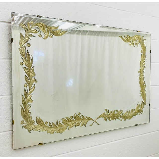 Stunning Antique Art Deco Mirror with Venetian Style Gold Foil Crest Detail. Fabulous over a double vanity sink in powder...