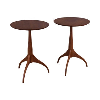 Shaker Workshops Custom Crafted Pair Solid Cherry Round Side Tables For Sale