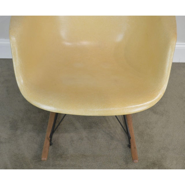 Wood Herman Miller Charles and Ray Eames Fiberglass Shell Rocker For Sale - Image 7 of 13