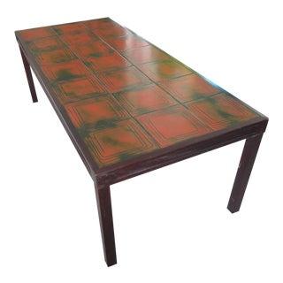 1970s Bramin Mobler Green & Orange Tile Coffee Table