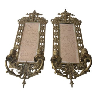 Classical Brass Candle Sconces - A Pair