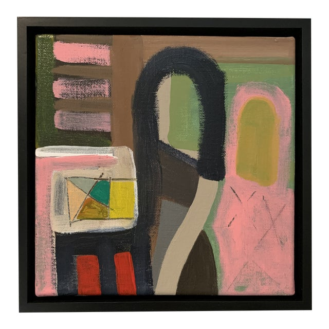 Contemporary Abstract Black Floater Framed Original Painting For Sale