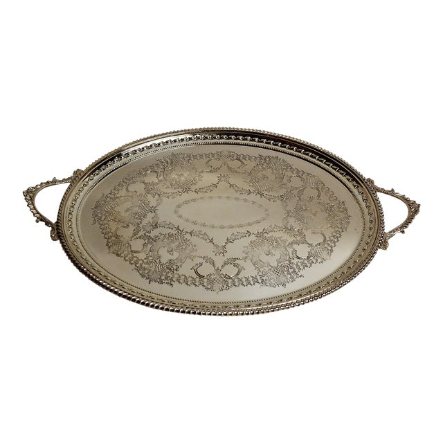 Antique English Silver Plate Serving Tray For Sale