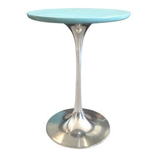 Aqua Blue Green Shagreen Drink Table With Aluminum Tulip Base For Sale